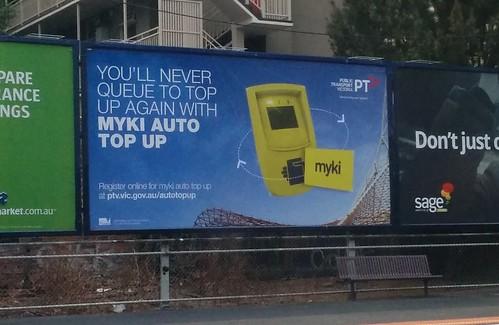 Myki billboard advertising, February 2014