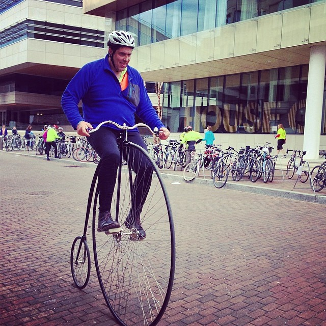 The return of Penny Farthing Man.