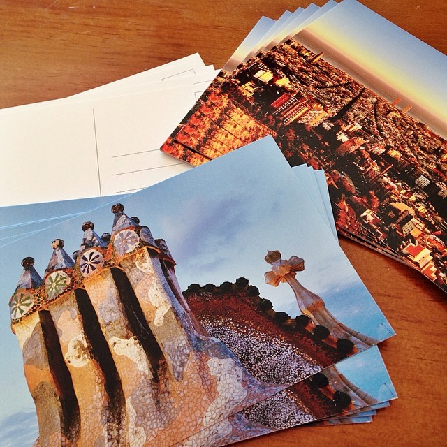 Writing postcards makes me happy, especially...