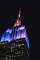 Picture Of Empire State Building Super Bowl XLVIII Social Media-Driven Light Show. Photo Taken Wednesday January 29, 2014