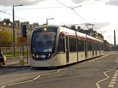 Lothian Tram 252 just seen departing its West End stop on another test run to York Place. 14th April 2014....