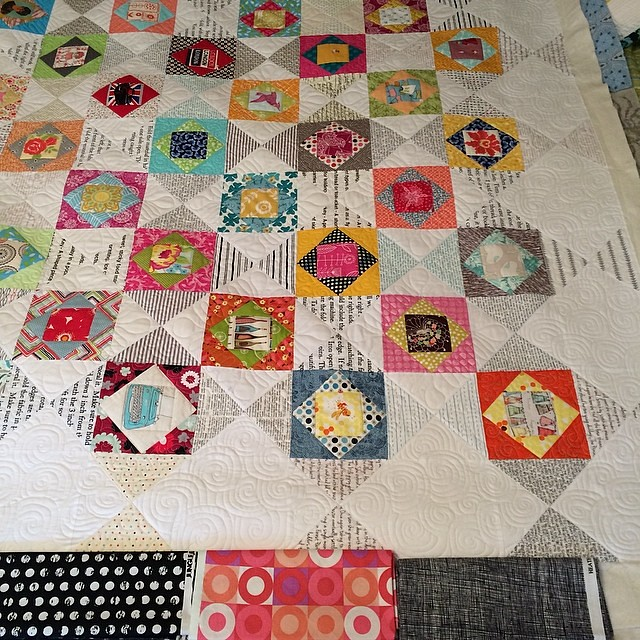 Since I messed up my last binding choice I thought I might consult the internet. Of these three I am leaning to the Jungle Ave dots - far left. Any comments? #quiltbinding