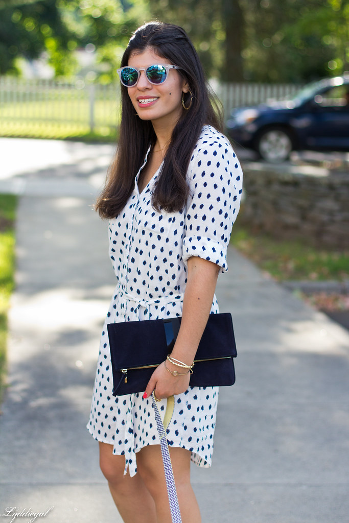 polka dot shirt dress, clare v clutch, dog walking outfit-9.jpg