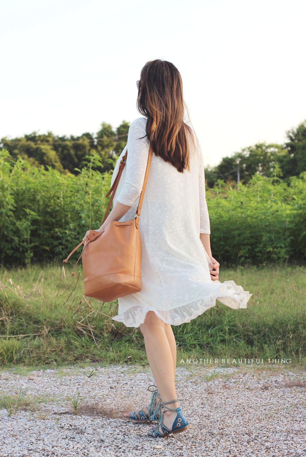 Longline lace trim cardigan and Madewell Lafeyette mini bucket bag