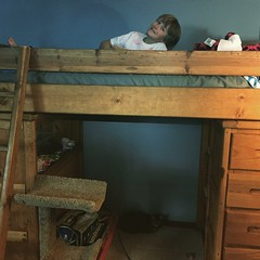 Somebody's excited about his new loft! Praise God for hand-me-downs!