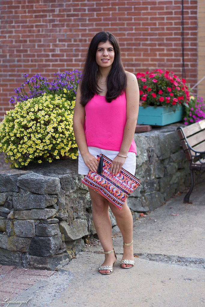 pink tank, white shorts, aztec sequin clutch-3.jpg