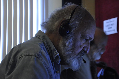 Bob Mugar on the phone bank. Photo by Leona Strassberg Steiner