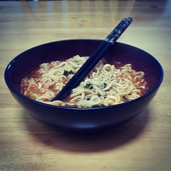 Spicy noodles for breakfast.