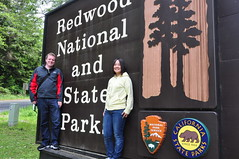 Kasumi and Bryce at Redwood National and State Park Sign