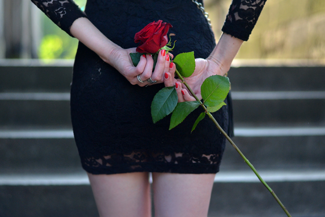 Lace dress and red rose blog 3
