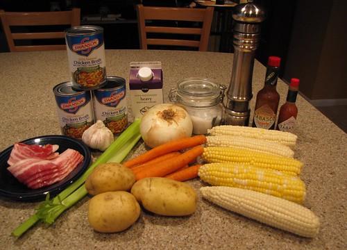 Corn & Bacon Chowder Ingredients