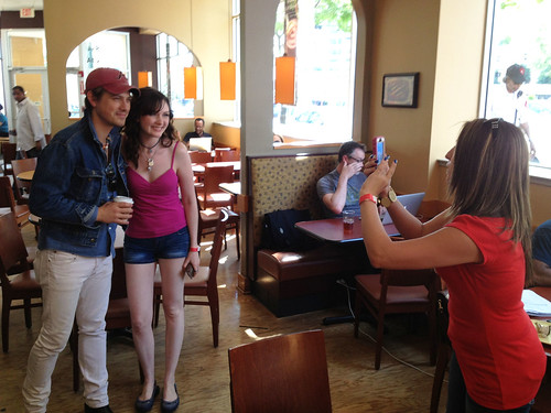 Girls Take Photo With Taylor Hanson in Panera