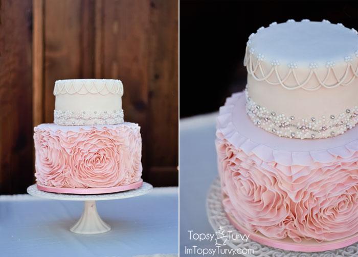 Fondant Ruffled Rosette Wedding Cake