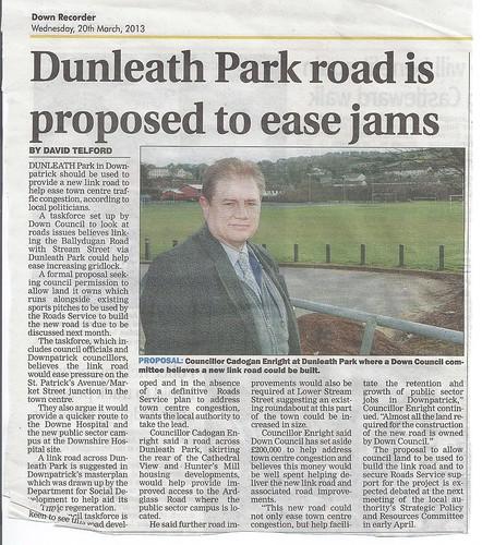 20th March 2013 Cadogan Enright seeks New Road around Dunleath Park