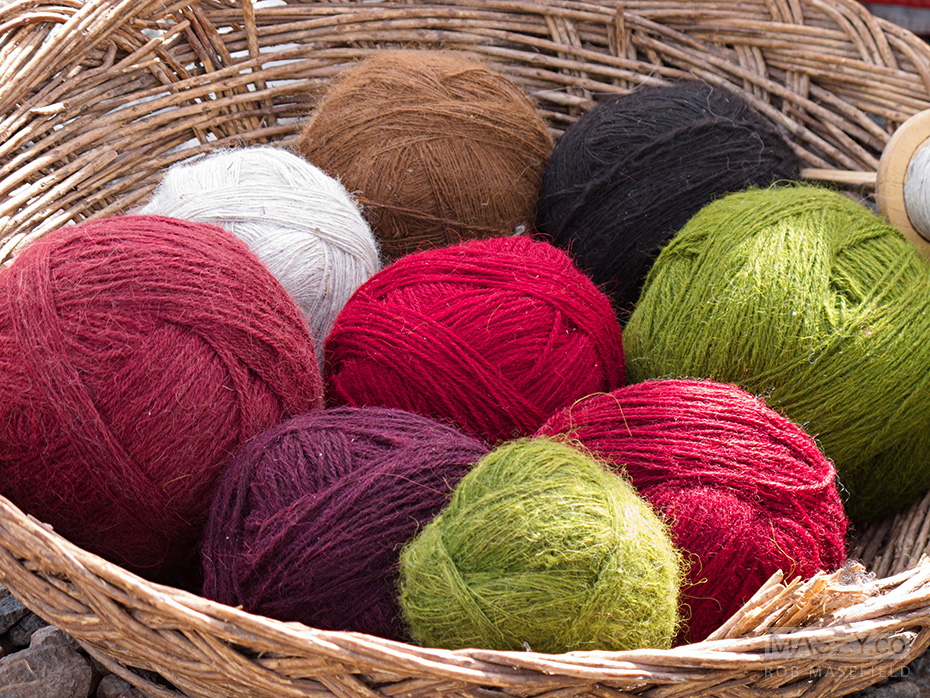 Vibrant coloured yarn - the result of all the hard work.