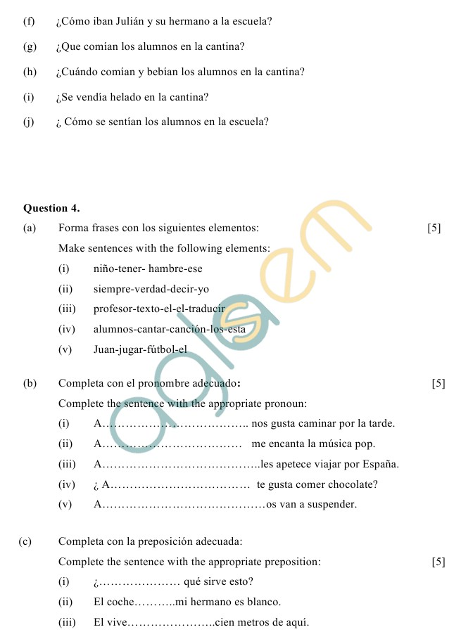 ICSE Class 10 Spanish Sample Paper (Group 1)