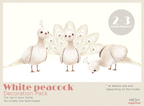 *MishMish* White Peacock -  deco only
