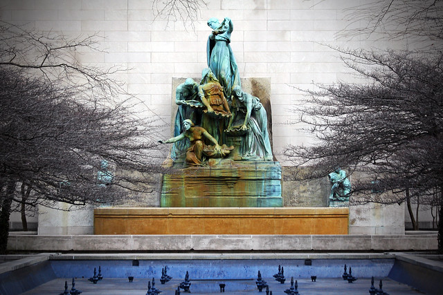 """Blue Lake County Park, Michigan - <i> Fountain of the Great Lakes or Spirit of the Great Lakes Fountain is an allegorical sculpture by Lorado Taft in the Art Institute of Chicago South Stanley McCormick Memorial Court south of the Art Institute of Chicago Building in the Loop community area of Chicago in Cook County, Illinois, United States. It is a bronze work of art created between 1907-1913. The fountain depicts five women arranged so that the water flows through them in the same way water passes through the Great Lakes. Note that the Great Lakes waterflow starts in Lake Superior at 600 feet (180 m) above sea level and continues eastward through each lake until it reaches Lake Ontario and then passes into the St. Lawrence River. The Fountain is one of Taft`s best known works. The fountain was originally installed facing south where it remained until 1963 when it was moved next to the Morton Wing addition facing west where it sits today. In its original location it was visible from the Jackson and Michigan Avenue intersection once known as &quot;route center&quot; to the south. The fountain was commissioned by the Benjamin Ferguson fund and one surface references the title B. F. Ferguson Fountain of the Great Lakes. There is a relief sculpture of Benjamin Ferguson on the rear panel that has been hidden from view since the fountain was moved. As the first commission from the Ferguson Fund, it experienced various funding delays. Additionally, the legal environment for land use in Grant Park was in flux at the time the commission was made, which caused delays in location selection. Once erected, the fountain received largely positive reviews, but a few critics questioned symbolism of the sculpture. Others were caught up in sociopolitical subtexts of the day, with regard to obscenity laws as it related to public art and this semi-nude work.</i> - <a href=""""http://en.wikipedia.org/wiki/Fountain_of_the_Great_Lakes"""" rel=""""nofollow"""">wikipedia</a>"""