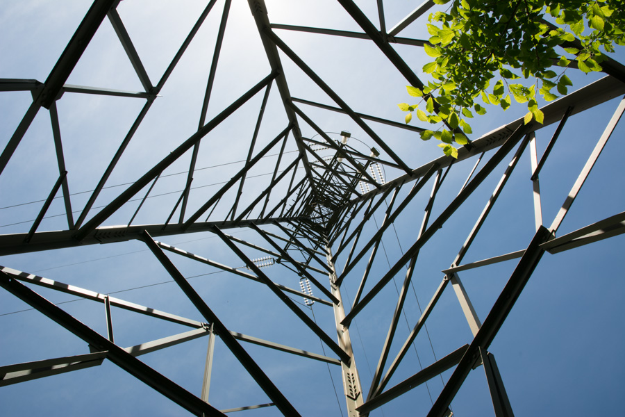 abstract lines pylon against sky