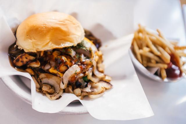 Mushroom and Onion BBQ Burger