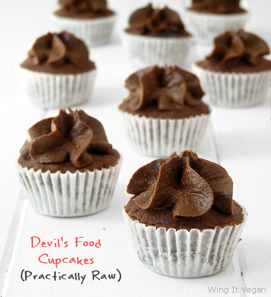 (Practically Raw) Devil's Food Cupcakes