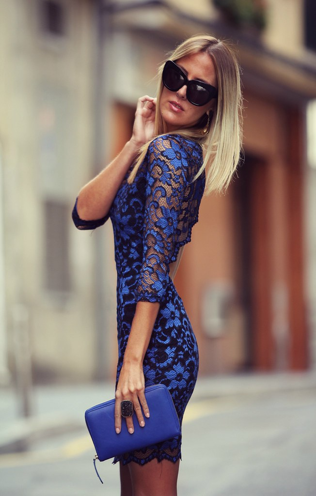 style lover lace blue dress