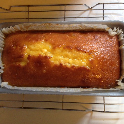 Orange and white chocolate loaf cake, soaking up the orange & lemon syrup I poured over the top.