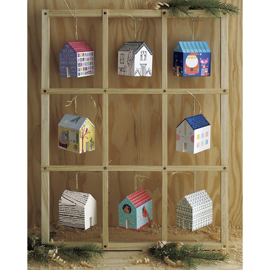 Crate & Barrel Wood Grain House Ornament