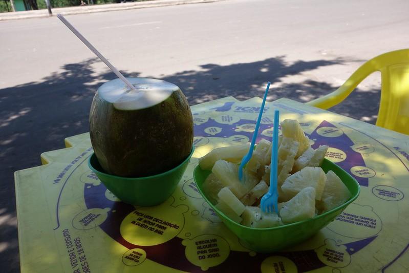 Fotografia de coco gelado e abacaxi em Macapá, Amapá Brasil