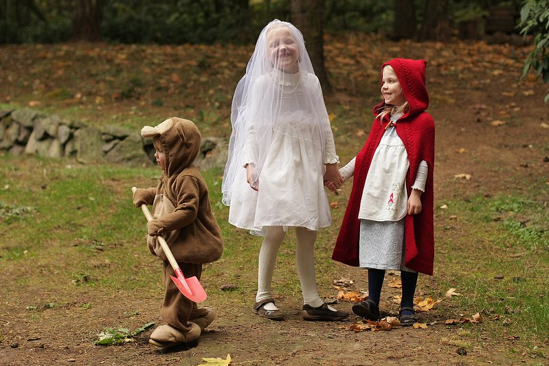 """My girls as Little Red Riding Hood, each with a """"wolf!"""" Handmade costume handed down. 10663712703_9ac5dfcc06_c"""