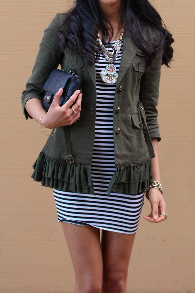 Military Jacket and a Striped dress 1