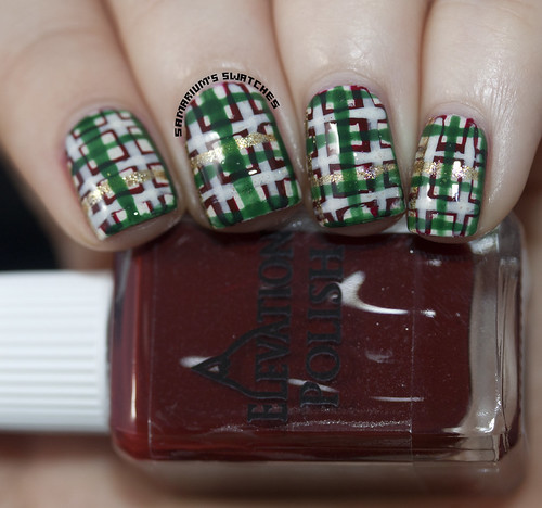 Christmas Plaid Nail art (7)