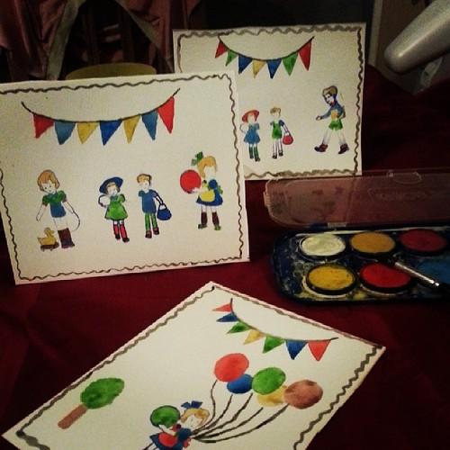 ♥ 3 cartes de voeux de finis et envie de les garder pour moi ♥ #carte #2014 #paint #ourlittlefamily #france