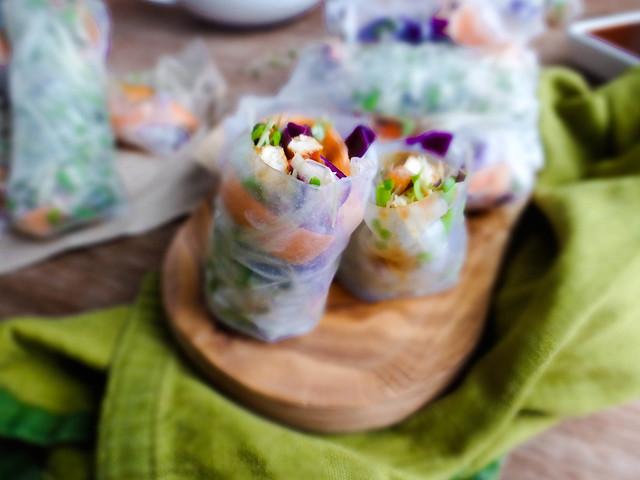 sweet & sour tofu spring rolls