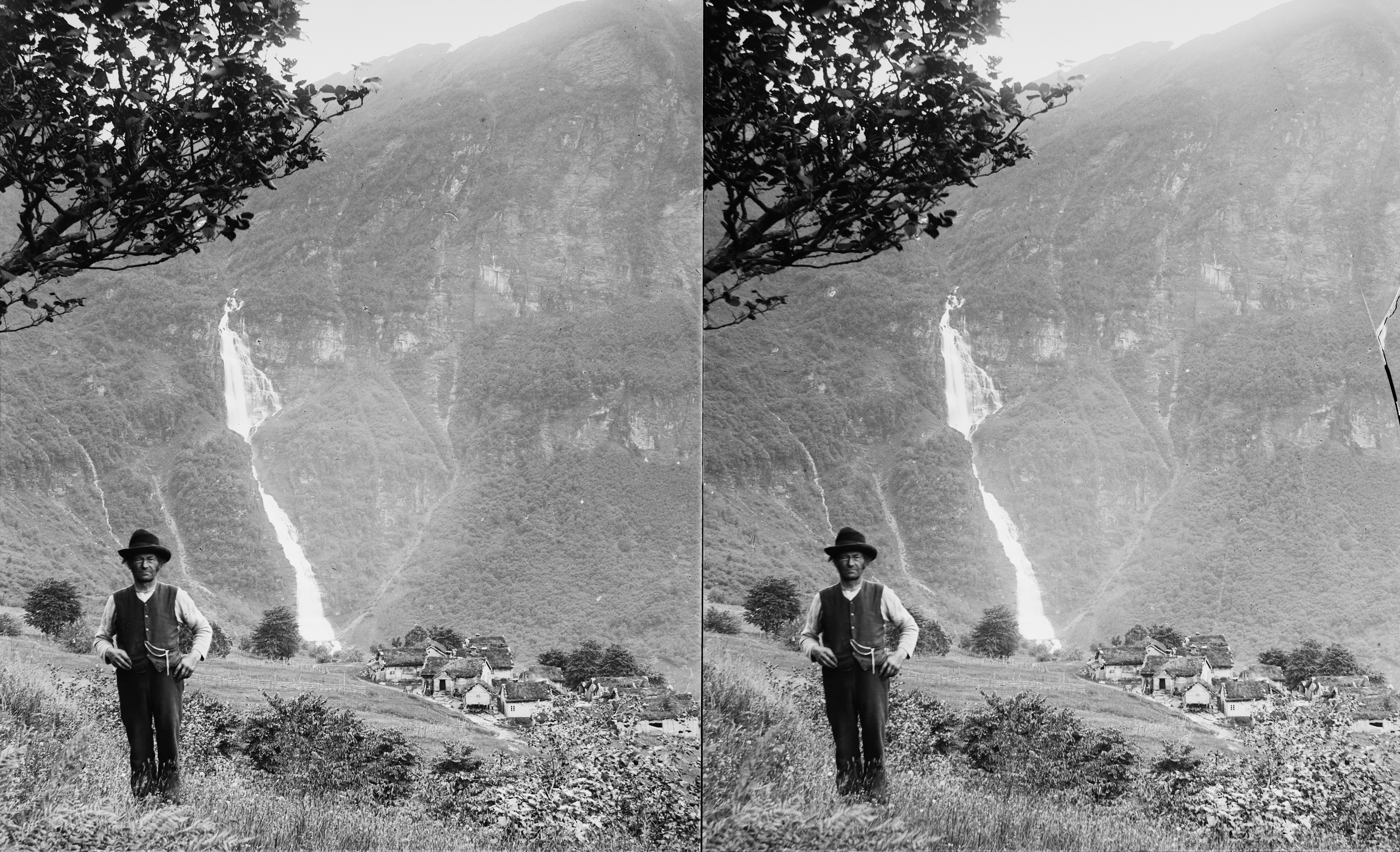 Man and waterfall, ca. 1898-1905.
