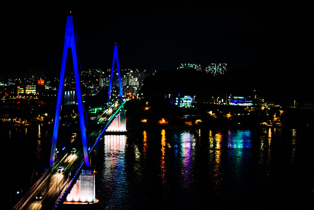 Dolsan Bridge at night