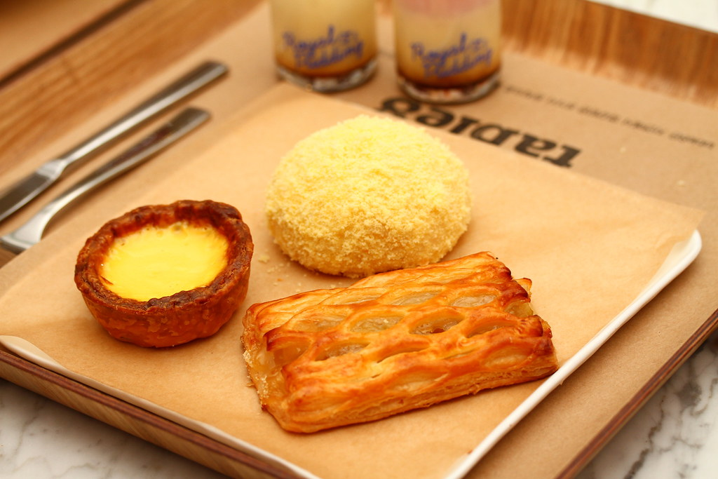 Paris Baguette Cafe's Cream Bread, Egg Tart & Apple Pie