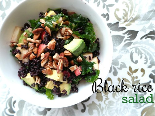 March 20 #dailylunches - Black rice (!), kale, cranberry, avocado and apple salad.