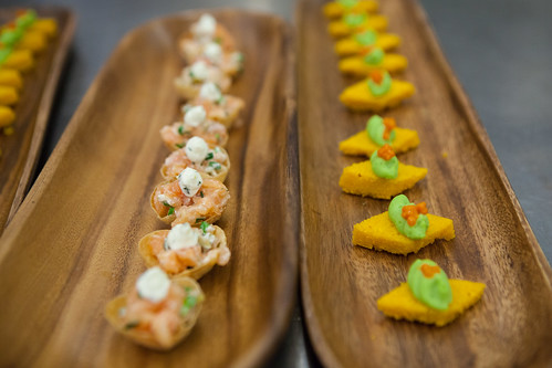 (Left) Salmon tartare, salmon caviar, tarragon creme & (Right) Carrot polenta, sweet pea mousse, carrot caviar