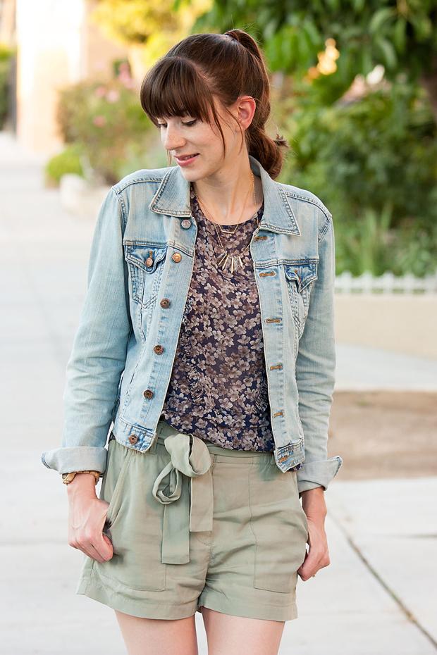 Gap Tie Waist Shorts, Silk Floral Blouse, Denim Jacket, Stella and Dot Necklace