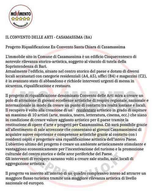 Casamassima- Movimento 5 stelle- Santa Chiara- comunicato da mettere intero