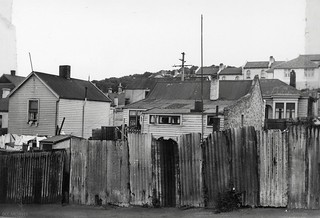 Houses identified as substandard in 1957 - looking into backyard of housing in Palmyra Avenue