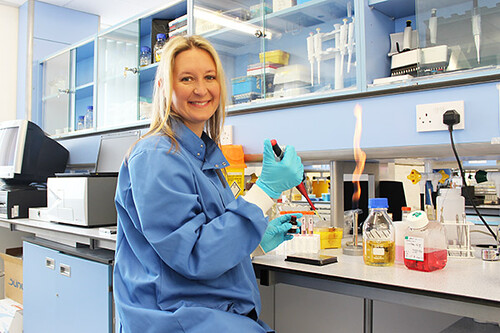 Dr Elizabeth Anderson, Researcher in the Institute for Biosensing Technology (IBST), UWE Bristol - preparing test samples in the laboratory.