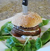 Herbed Feta Stuffed Burger with Heirloom Tomato and Spinach