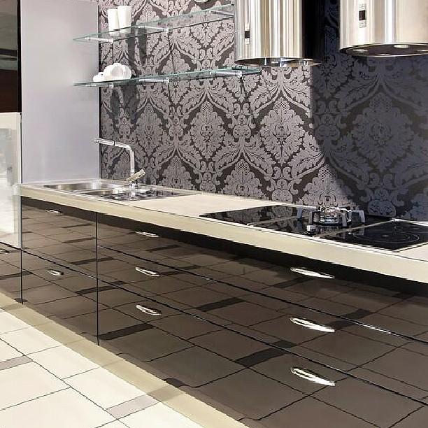 Atlanta Living Kitchen Cabinets Wallpaper Black Silver Steel