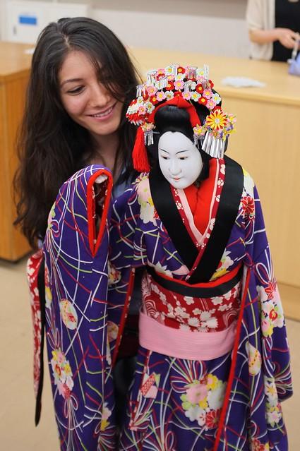 Japan Foundation student trying Bunraku puppet