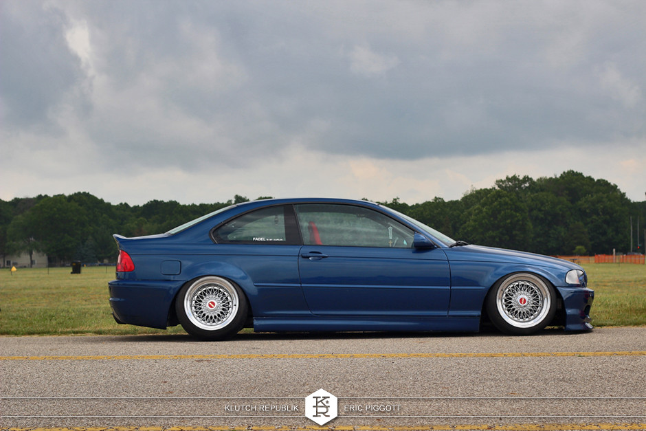 blue bmw e46 m3 bbs super rs  at eurohanger 2013 holland michigan slammed dropped dumped bagged static coilovers hella flush stanced stance fitment low lowered lowest camber wheels tucked 16s 17s 18s 19s 20s 3piece 1 piece custom airbags scene scenester