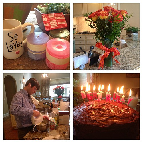 Truly perfect birthday!  Sleeping in, church, coffee mug and candles from my boys, flowers from David, and homemade cake and dinner made by David. A great day!