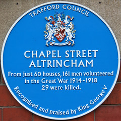 Photo of Chapel Street Altrincham blue plaque