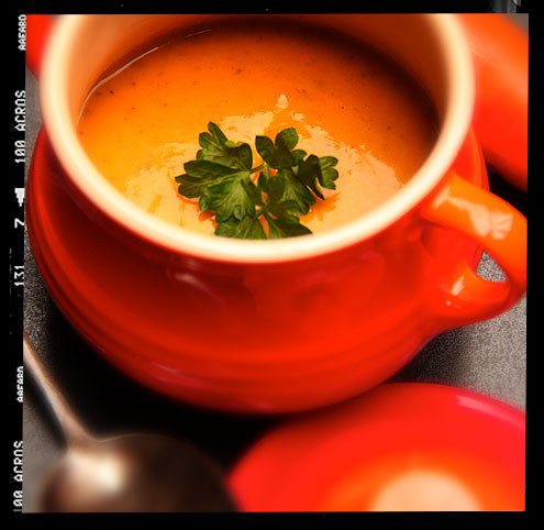 Spiced carrot soup with harissa